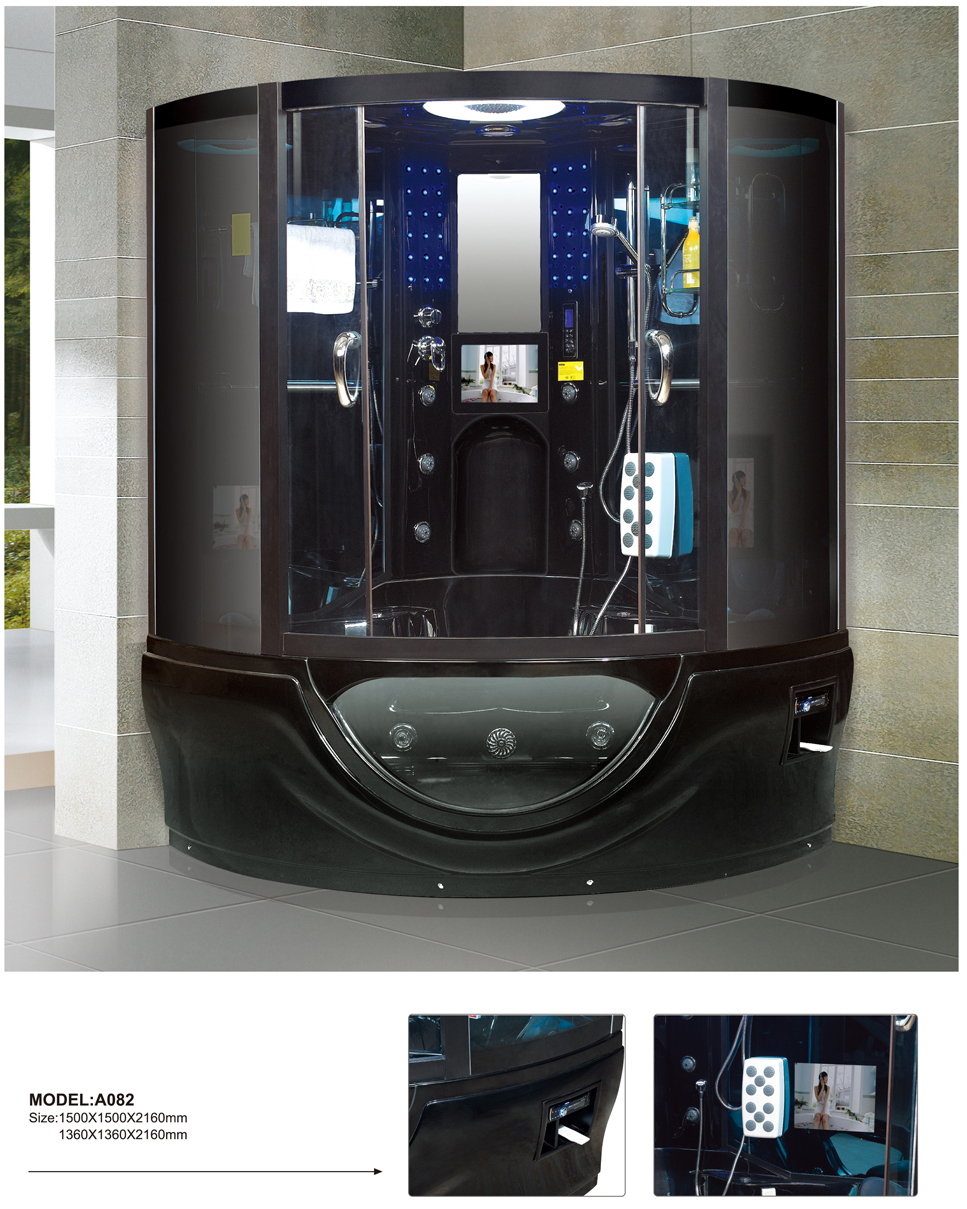 Enclosed massage whirlpool steam shower room,jetted tub shower combo,steam shower and whirlpool bath 0262-A082(China (Mainland))