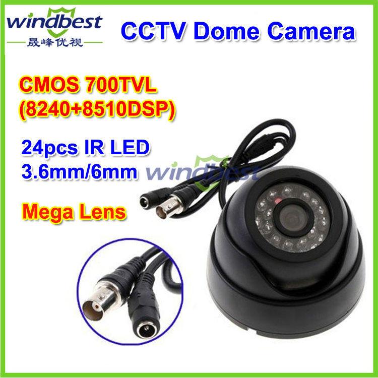 Freeshipping Dropshipping Surveillance 24 IR LED night vision Color CMOS 700TVL 3.6mm IR Indoor Security Mini Dome CCTV Camera(China (Mainland))