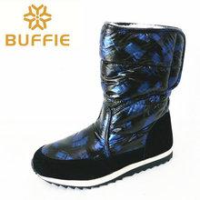 2016 Imitación de Las Mujeres Del Dedo Del Pie Redondo Faux Fur Manguito de Nieve Pato Estilo de Combate Zapatos Media Pantorrilla Botas Zapatos de la Nieve(China (Mainland))