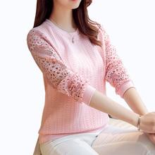 2016 Осень Новые Поступления Женщин Пуловеры Мода Sexy выдалбливают лоскутная кружева топы Трикотажные свитера женщин(China (Mainland))