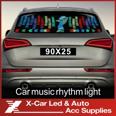 90 *25cm Colourful Flash Car Sticker Music Rhythm LED Sheet Light Lamp Sound Music Activated Equalizer car Stickers(China (Mainland))