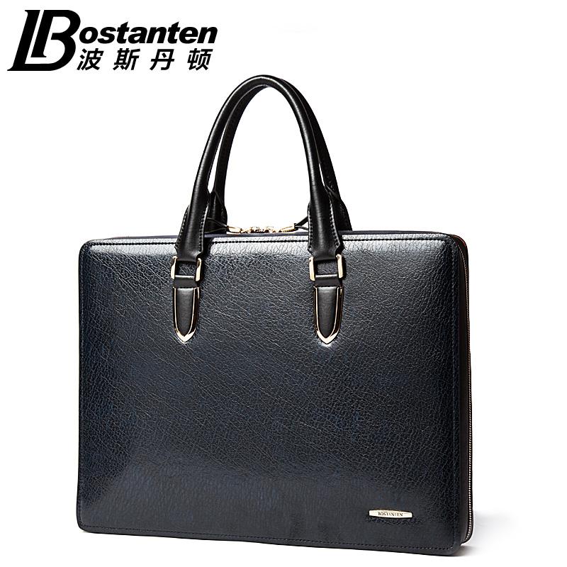 Фотография 100% Genuine Leather BOSTANTEN Brand Handbag High Top Quality Men Real Cowhide Leather Men