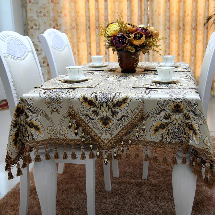 Vintage European Coffee Yarn Dye Fabric Table Cloth Christmas Gift / Luxury Top Quality Tablecloth Table Runner Custom Make(China (Mainland))