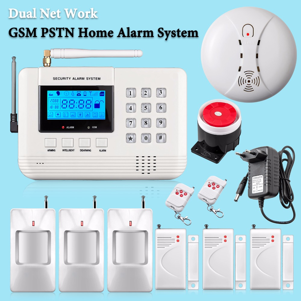 Russian/Spanish/English Voice 433mhz Dual-Network PSTN GSM Alarm System Home Burglar Security Fire Alarm with Russian manual(China (Mainland))