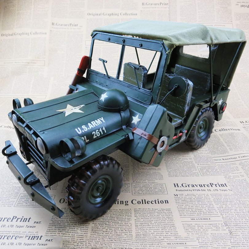 Large classic car model military model Father's Day creative gifts antique iron pure hand home decorations furnishing articles(China (Mainland))