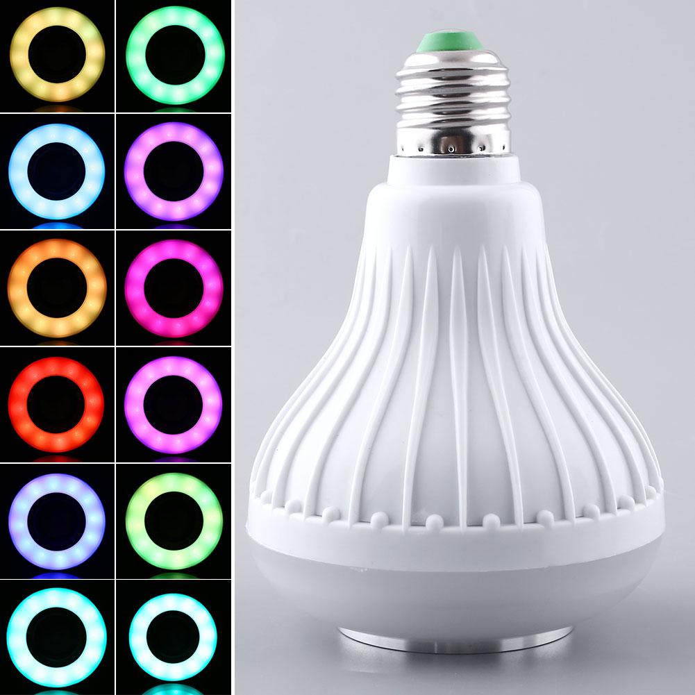 Wireless 12W E27 Bluetooth Remote Control Mini Smart LED Audio Speaker RGB Color Warm Bulb Music Lamp<br><br>Aliexpress