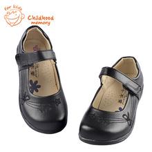 Девочки кожаные ботинки классический черный школа выступления детские форма обувь весенние туфли для девочки цветок в европейском стиле