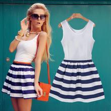 2015 new fashion women striped dress casual o-neck sleeveless blue stripe patchwork slim mini dresses plus size free shipping(China (Mainland))