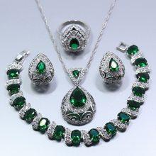טיפת מים 4 PCS תכשיטי סט 925 סטרלינג כסף ירוק זירקון עגילי טבעת שרשרת תליון צמיד לנשים אריזת מתנה Z119(China)