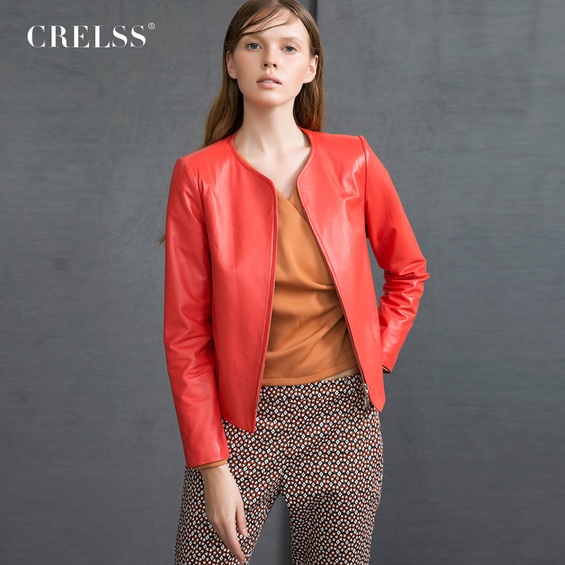 Leather Jacket Women 2015 Autumn Genuine Leather Coat Green Yellow Blue Leather Suit Short Slim free