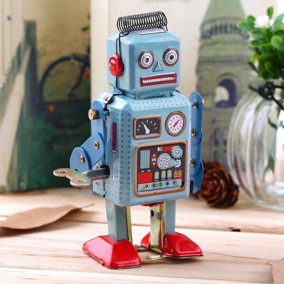 Гаджет  New Hot Selling 1pc Vintage Mechanical Clockwork Wind Up Metal Walking Robot Tin Toy Kids Gift  None Игрушки и Хобби