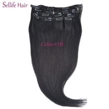 Clip In Natural Asians Hair Extensions 20inch-24inches 100g 8pcs/set Full Head Set #1B Natural Black Drop Shipping
