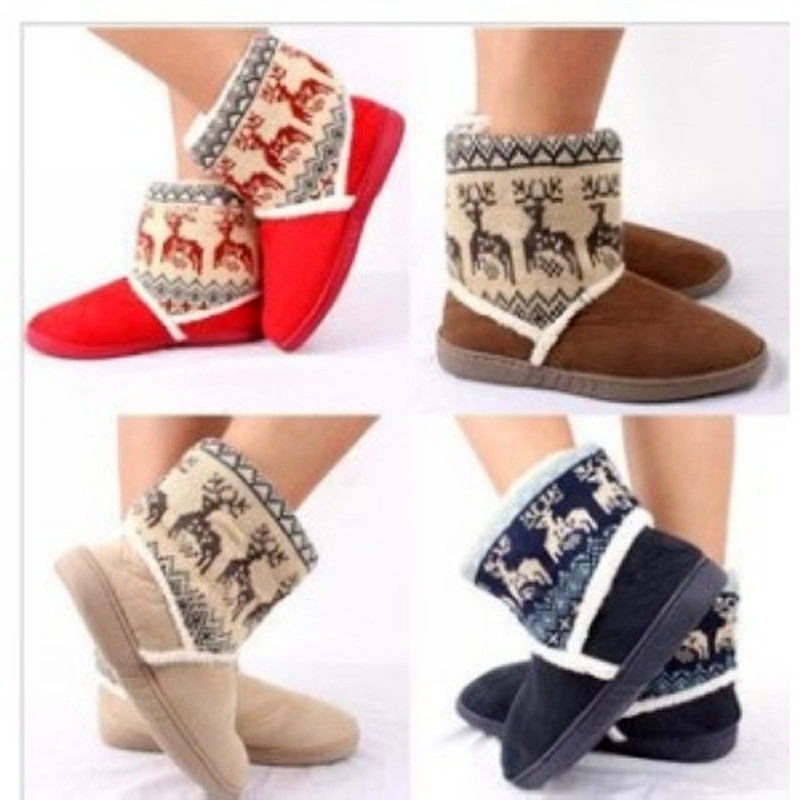 2013  Winter Warm Indoor Christmas Snow Boots Womens At Home Floral Slippers<br><br>Aliexpress