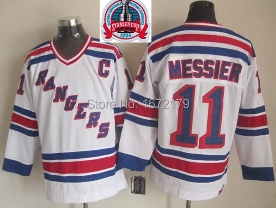 CHEAP 1994 STANLEY CUP CHAMPIONSHIP VINTAGE NEW YORK RANGERS #11 MARK MESSIER WHITE THROWBACK STITCHED MENS ICE HOCKEY JERSEYS