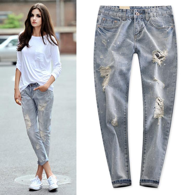 Unique Design European Lady Fashion White Hole Bronzier Paint Jeans Womens Loose Harem Pants JeansОдежда и ак�е��уары<br><br><br>Aliexpress
