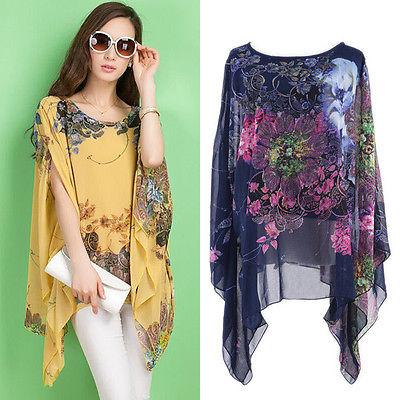 Summer Women Sexy Batwing Sleeve Loose Chiffon Floral Print Blouse Tops(China (Mainland))