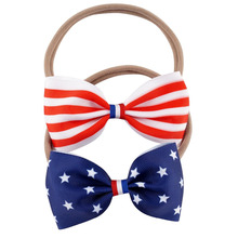 Buy July 4th American Flag Nylon Headband Girls Kid Star Striped Bow Hair Band Hair Accessories for $1.07 in AliExpress store