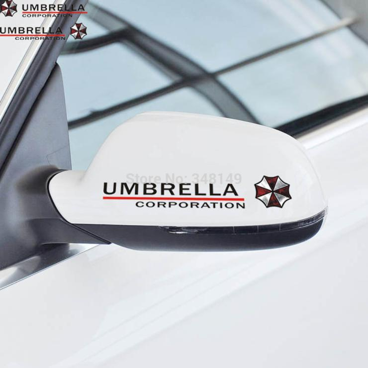 2 x Umbrella Corporation Reflective Car Rearview Mirrow Sticker And Decal For Vw Golf Polo Audi Bmw Ford Focus 2 Fiesta Opel Kia(China (Mainland))