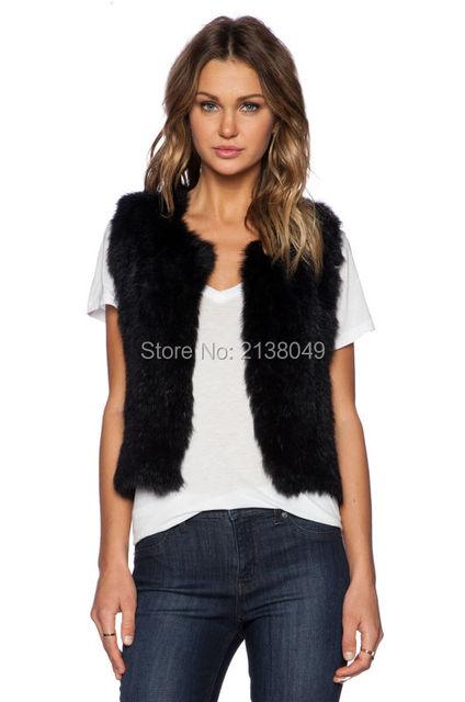 Fv01507 высокое качество модный дизайн настоящее кролика меховой жилет для женщин