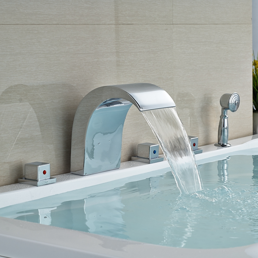 and retail promotion deck mounted waterfall bathroom tub faucet