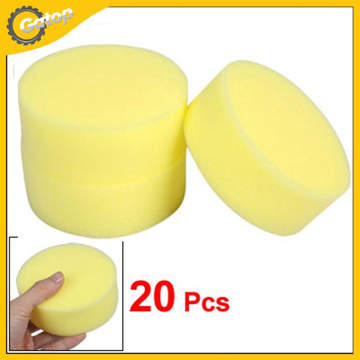 Car Polish Wax Applicator Round Sponges used for leather sofa furnitures and ceramic tile 10*3.8cm Yellow Free Shipping(China (Mainland))