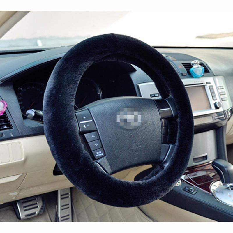 1 единиц Шварц warme зимний plüsch авто lenkradabdeckung nachahmung wolle универсальный авто lieferungen Авто аксессуары