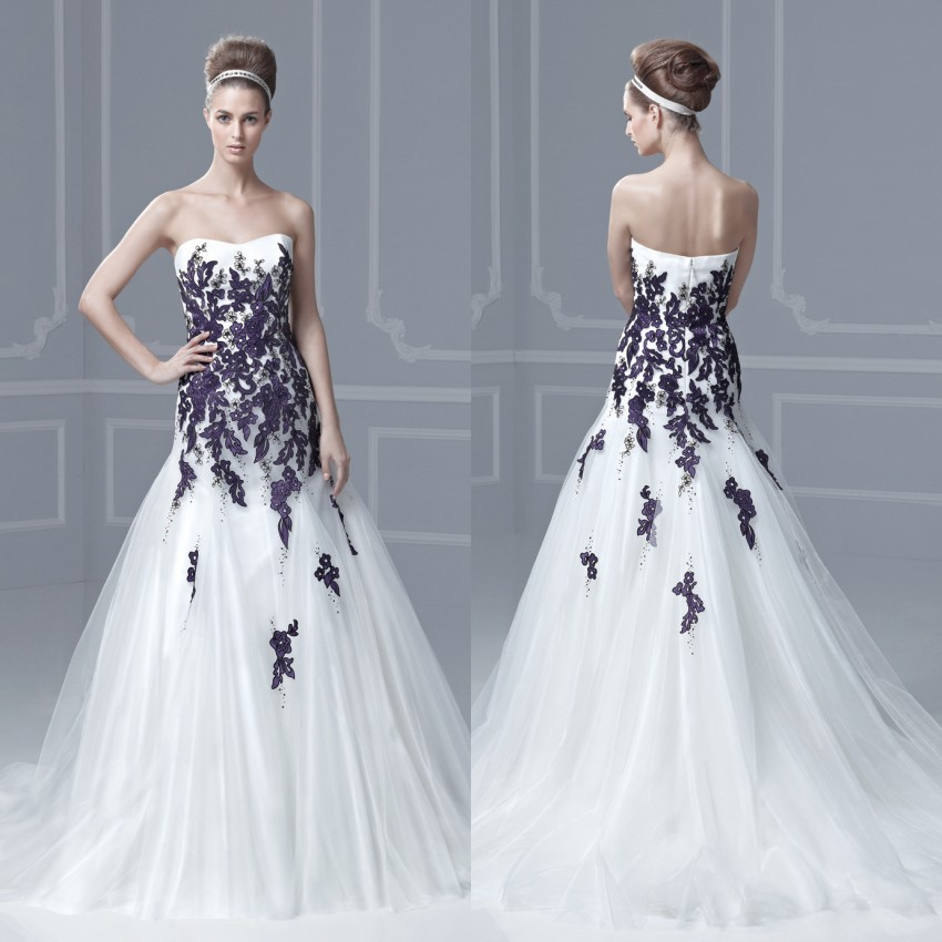 Princess style strapless backless beaded lace appliques for Strapless and backless wedding dress