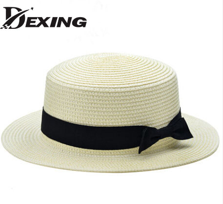 New Fashion Flat Sun Hat Women's Summer bow Straw Hats For Women Beach Headwear 12 Colors chapeau femme Gift(China (Mainland))