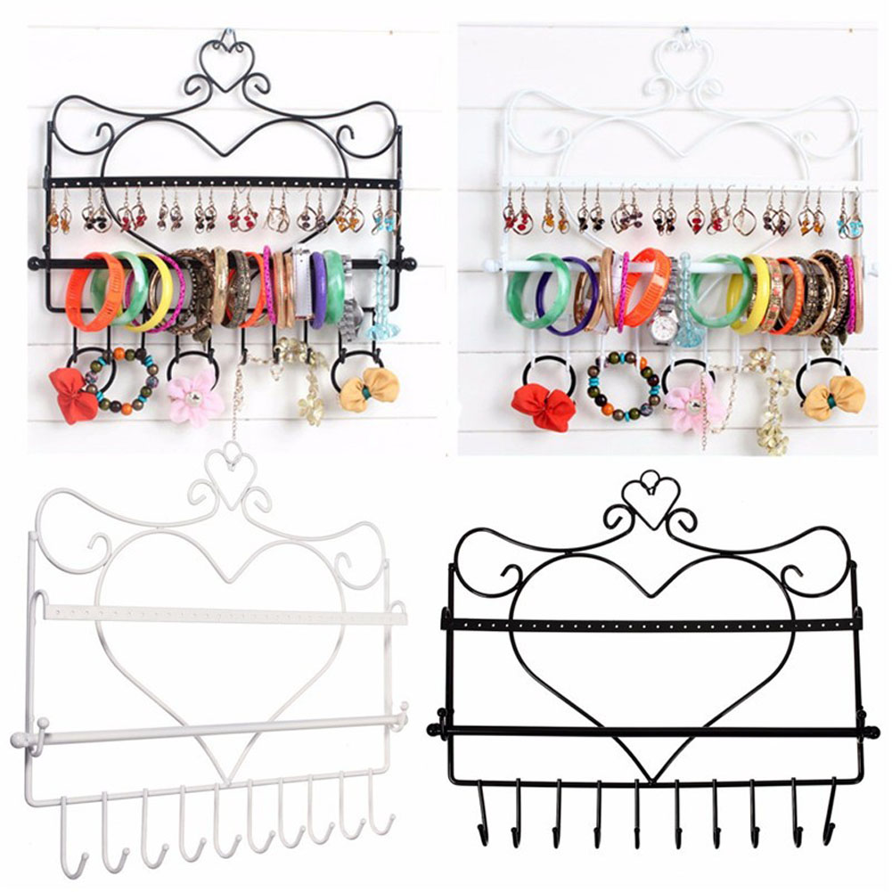 Iron art Wall Mount Heart Shape Jewelry Organizer Earrings Holder Necklace Jewelry Storage Display Stand Rack 3 Colors DM#6(China (Mainland))