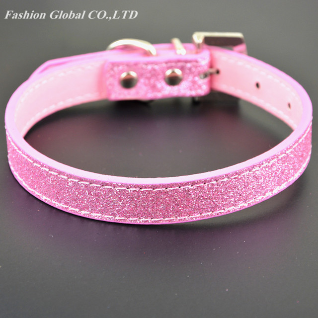 Bling Rhinestone Crystal Leather Pet Dog Cat Collars Adjustable Collar with Pendant