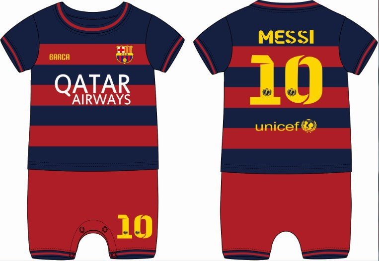 Hot sale New Best qulity Summer style 100% cotton body soccer jumper boys&girls baby clothing& romper #10 Messi Free shipping(China (Mainland))