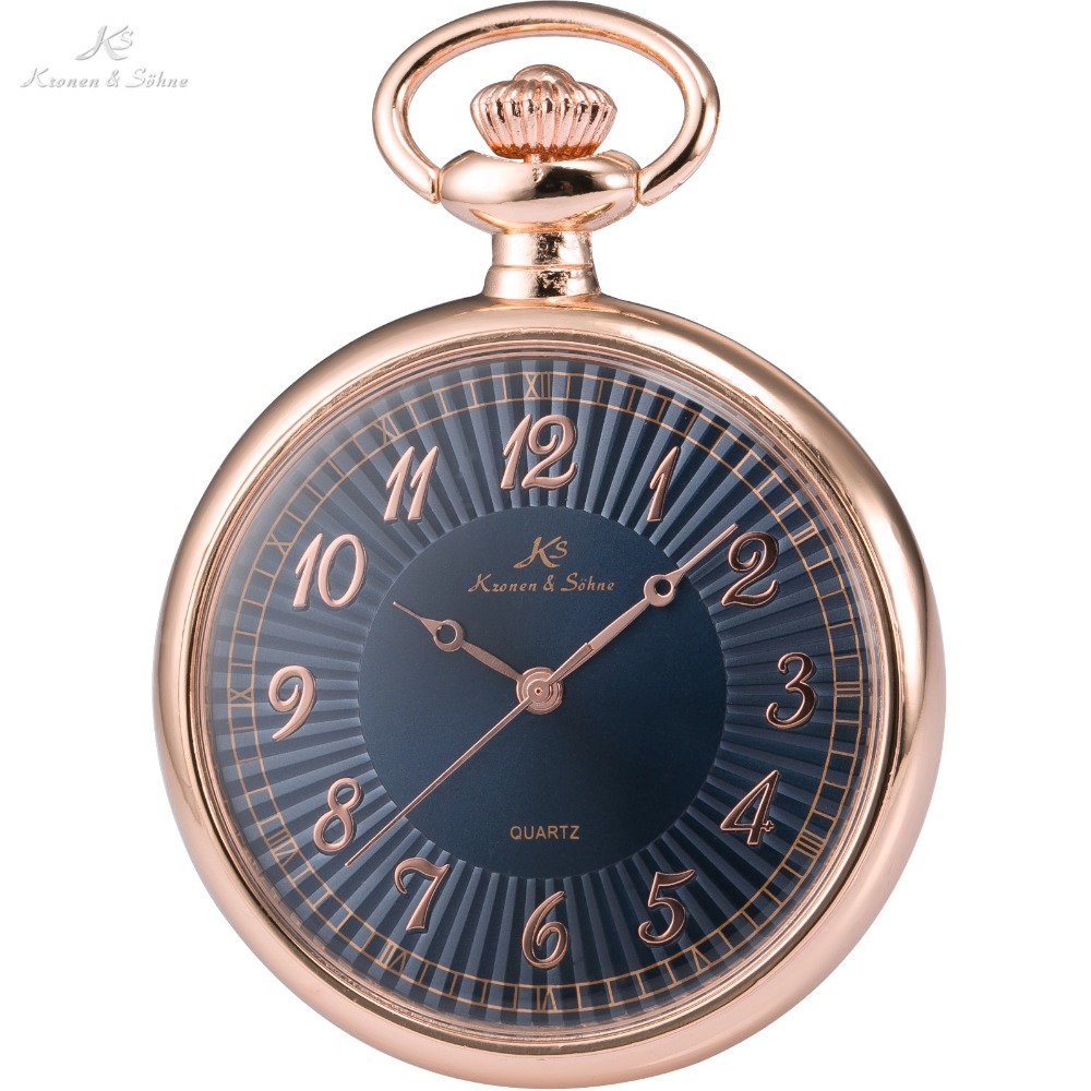 KS Luxury Brand Retro Rose Gold Stainless Steel Case Men Classic Quartz Watches Male Chain Necklace Fob Pocket Watch / KSP057(China (Mainland))