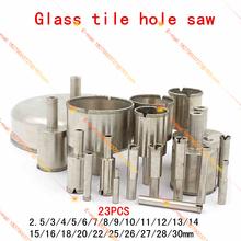 23 unids glass tile drill agujero consideró, perforación de perforación de diamantes diámetro 2.5 – 30 mm
