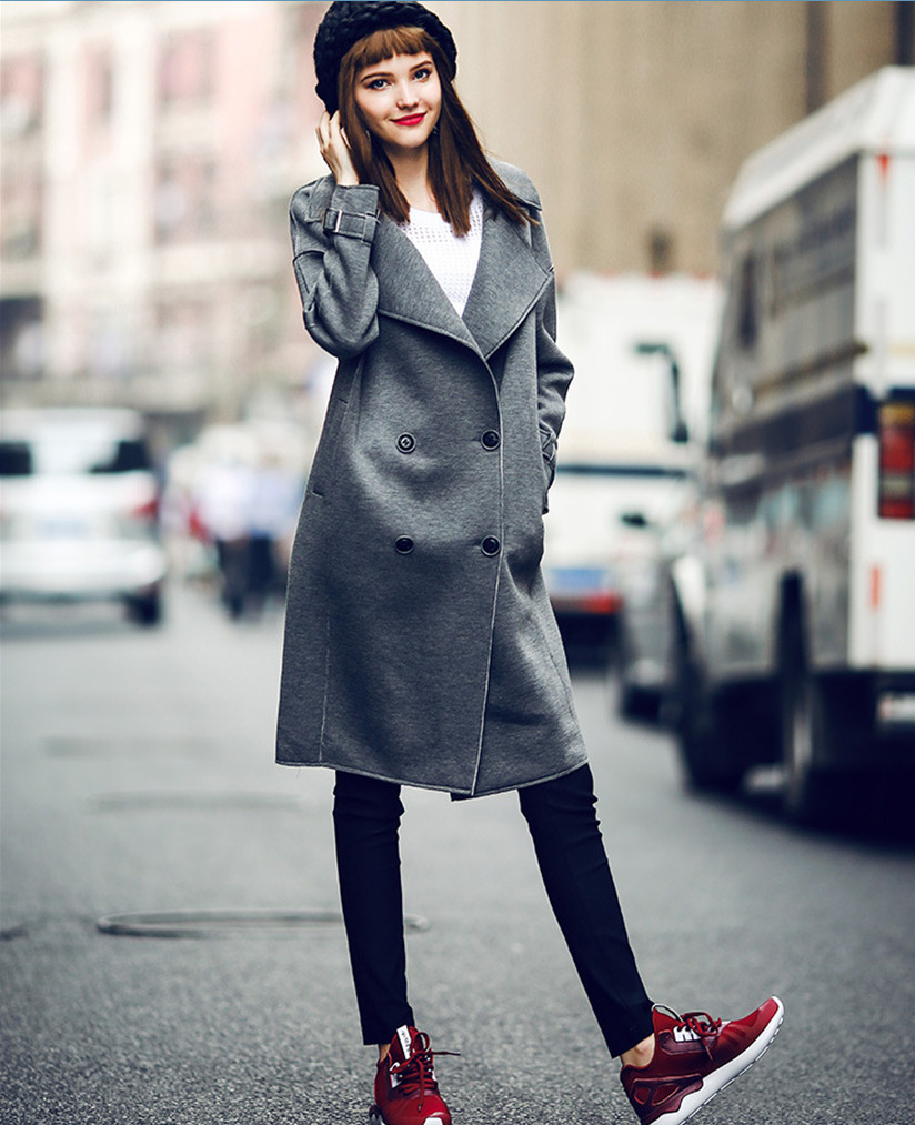 Здесь можно купить  Europe and America Fashion Casual women Trench Coat Gray  Autumn  Winter Women outerwear Overcoats manteau femme Europe and America Fashion Casual women Trench Coat Gray  Autumn  Winter Women outerwear Overcoats manteau femme Одежда и аксессуары