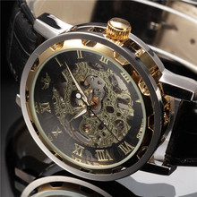 SEWOR Black and Golden Skeleton Men's Casual Mechanical Watch(China (Mainland))