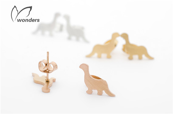 30pairs/lot 2015 Gold/Silver/Rose Gold Cute Tiny Dinosaur Stud Earrings,Stainless Steel Women Fashion Jewelry<br><br>Aliexpress