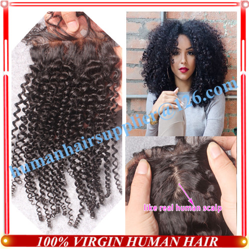 Kinky Curly Silk Base Closure 100% Human Hairy Silk Closures Brazilian Kinky Curly Silk Top Closure Free Middle 3 Part In Stock<br><br>Aliexpress