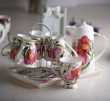Fashion Bone China Ceramic Coffee Tea Water Cup And Pot 6 Peices Sets European High Quality