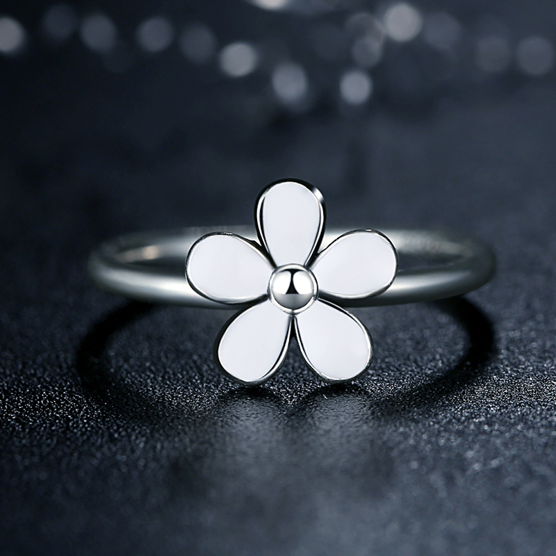 Flower 925 Sterling Silver Darling DAISY Stackable RING White Enamel WITH WHITE ENAMEL Authentic Jewelry(China (Mainland))