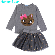 Humor Bear NEW Autumn Baby Girl Clothes Girls Clothing Sets Cartoon Sequins Cat Long Sleeve+Stars Skirt Casual 2PCS Girls Suits(China (Mainland))
