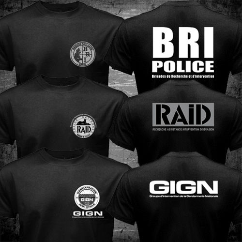 New France French Special Elite Police Forces Unit GIGN Raid BRI Black T shirt Tee Mens 100% Cotton Short Sleeve T-Shirt(China (Mainland))