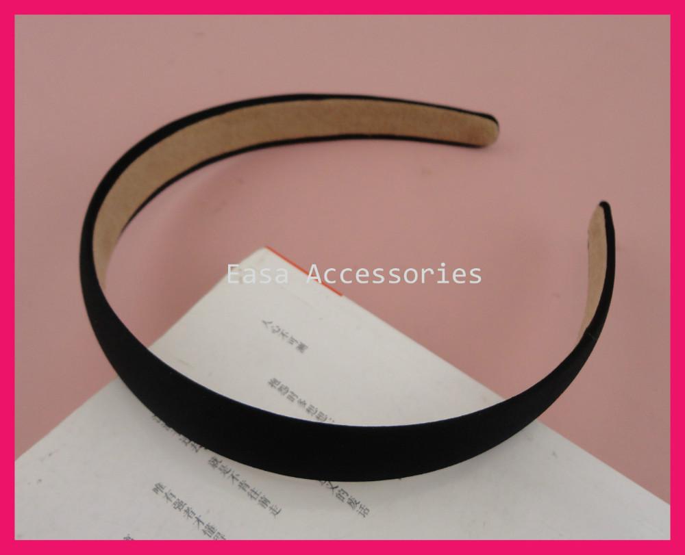 10PCS 20mm Black Satin Fabric Covered Plain Plastic Hair Headbands with velvet back at free shipping,BARGAIN for BULK(China (Mainland))