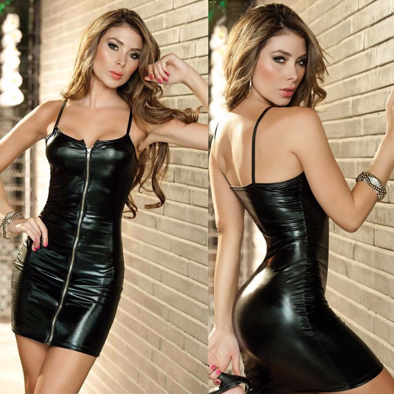 European Sexy Lingerie Sleeveless Leather Pole Dance Dress Backless Hollow Out Erotic Catsuit Latex Women Dress Nightdress 6691