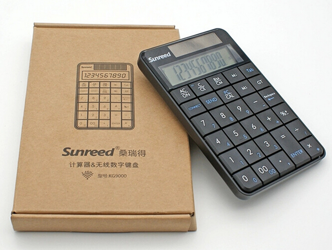 Free shipping Sunreed KG9000 2.4GHz Notebook USB Wireless Numeric Keypad Laptop Calculator Solar energy(China (Mainland))