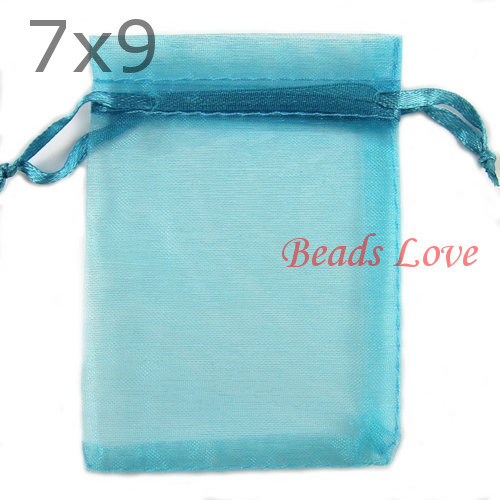 Free Shipping 100PCS Lake blue Jewelry Packing Drawable Organza Bags Wedding Gift Bags 7CMX9CM(W03185)(China (Mainland))