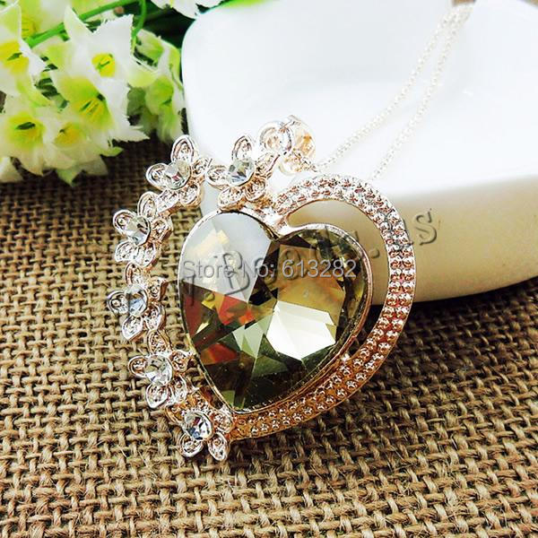Free shipping!!!Zinc Alloy Sweater Chain Necklace,luxury, with Crystal, Heart, gold color plated<br><br>Aliexpress