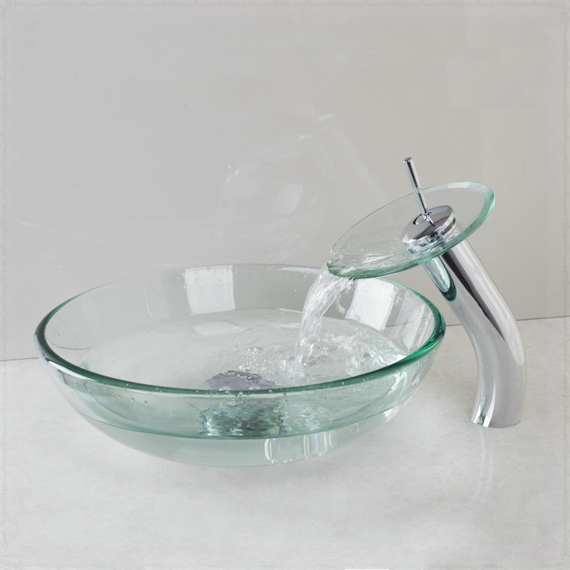 Tempered Glass Vessel Sink : Bathroom Tempered Glass Vessel Sink & Mixer Chrome Brass Faucet ...