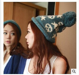 2014 New South Korean star skeleton head a ball of wool knitted thermal underwear for men and women curling tidal Hat Cap(China (Mainland))