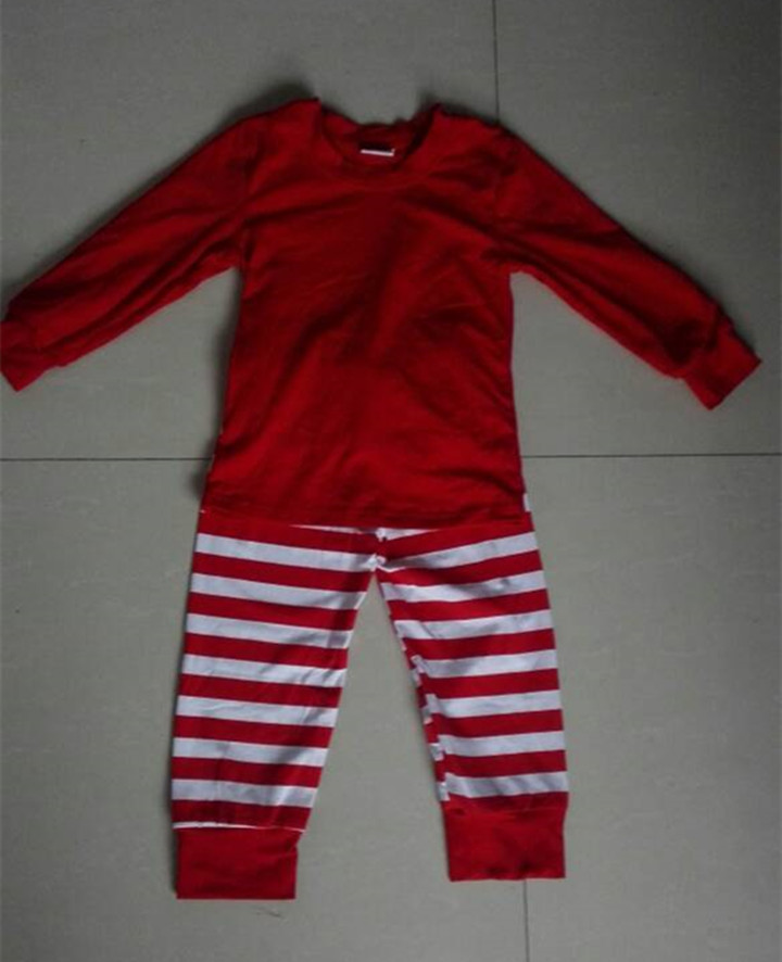 Solid cotton tops stripe icing leggings clothing set wholesale kids Christmas pajamas unisex children sleeping wear S106(China (Mainland))