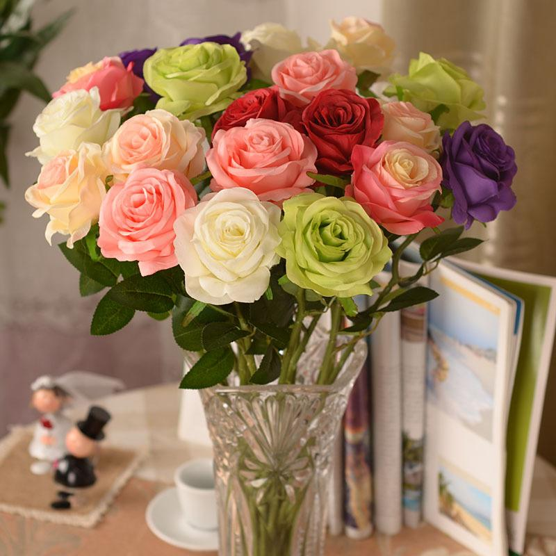 New artificial fake silk circle center rose flower bouquet for Artificial flowers decoration home